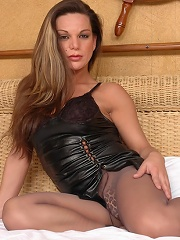 Mischievous Shemale With Cock Bursting Out Of Grey Control Top Pantyhose
