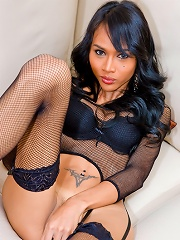 Long-legged T-girl Clad In Fishnet From Top To Toe