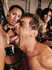 Slave Is Smothered In Latex Then Forced To Suck Lots Of Shemale Cocks