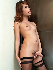 Horny Ladyboy Jerks Off In Silky Stockings