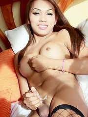 Kip Is A Ladyboy From Pattaya Who Looks Sexy In Her Tight Black Dress And Fishnets. It Looks Like Her Hard Cock Could Rip Through Her Stockings.